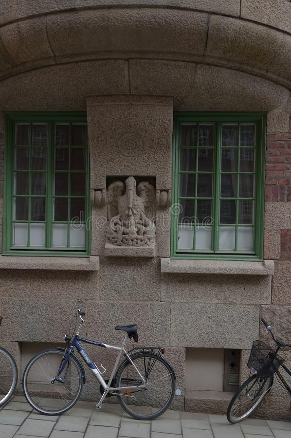 Fragment of the facade and design of the entrance to the apartment building royalty free stock images
