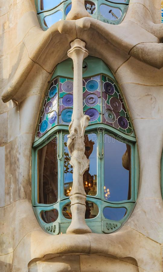 Fragment of the facade of the famous Casa Batllo, building designed by Antoni Gaudi and one of main tourist attractions in royalty free stock image