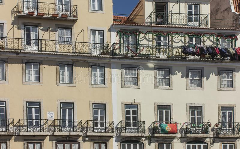 Fragment of the facade of the house in the oldest Lisbon`s work, Alfama royalty free stock image