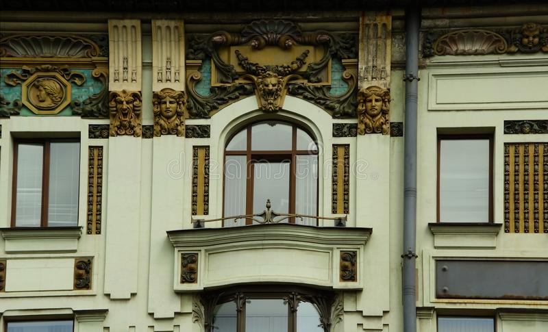Fragment of the facade of the mansion in the Art Nouveau style on Nevsky Prospekt. In St. Petersburg royalty free stock images