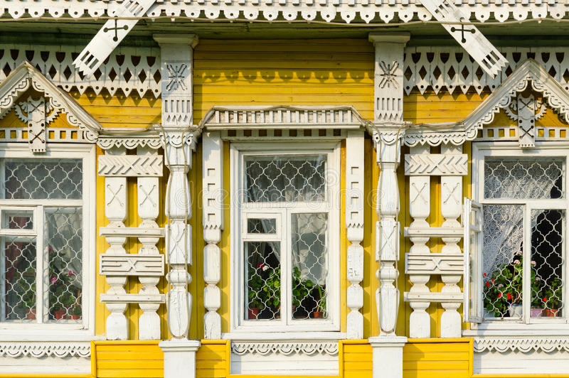 Fragment of facade of museum of city life, Uglich, Russia stock photo