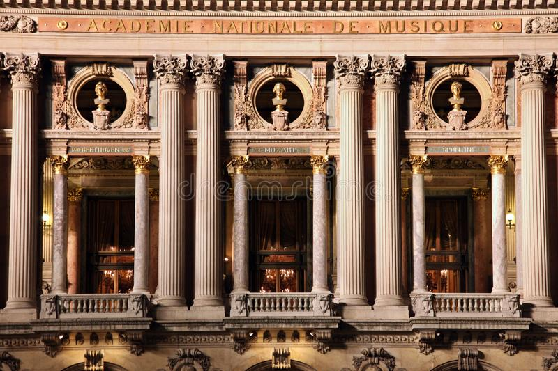 Fragment of the facade of the Opera Garnier late evening. Paris. stock images