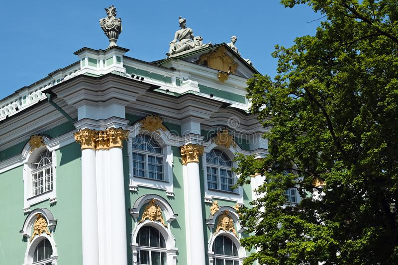 Fragment of facade of Winter Palace in Saint Petersburg stock image