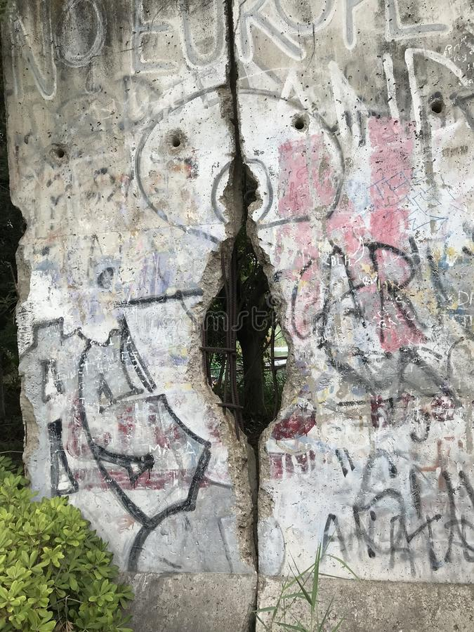 Fragment of the famous Berlin Wall stock photography