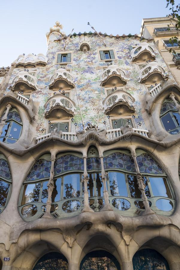 Fragment of famous building Casa Batllo of Antoni Gaudi in Barcelona Spain. BARCELONA, SPAIN - DECEMBER 19, 2018: Barcelona, Spain. Fragment of famous building royalty free stock photography