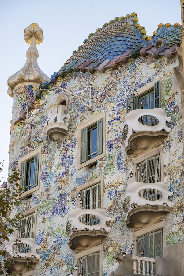Fragment of famous building Casa Batllo of Antoni Gaudi in Barcelona Spain. BARCELONA, SPAIN - DECEMBER 19, 2018: Barcelona, Spain. Fragment of famous building royalty free stock images