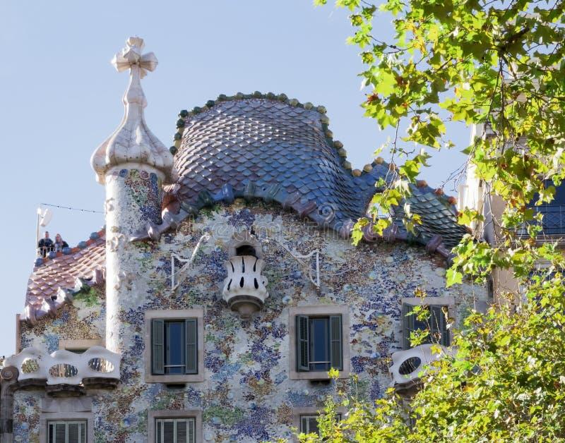 Fragment of famous building Casa Batllo of Antoni Gaudi stock photo