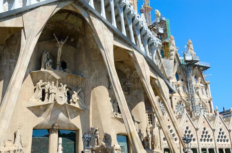 Fragment of famous Expiatory Church of Holy Family Sagrada Familia, Barcelona, Spain. BARCELONA, SPAIN - SEPTEMBER 13, 2018: Fragment of famous Expiatory Church royalty free stock images