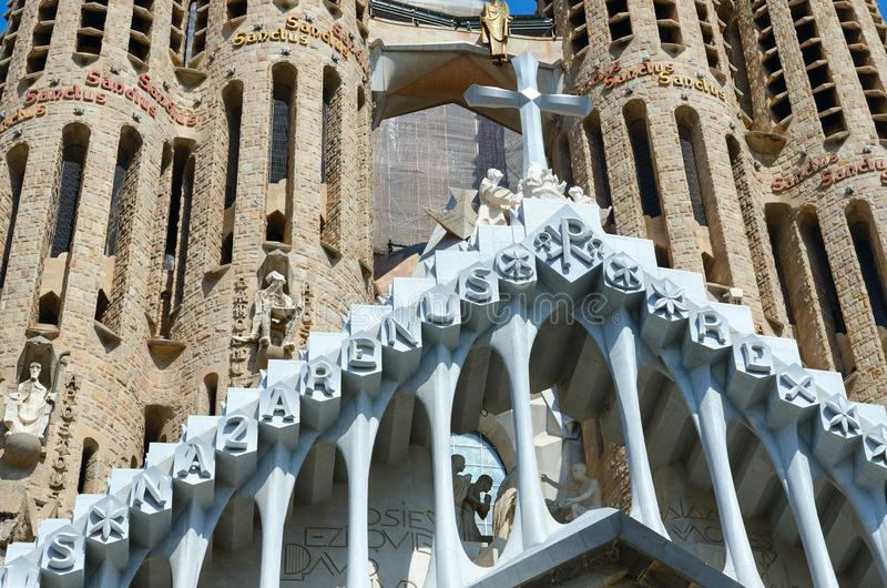 Fragment of famous Expiatory Church of Holy Family Sagrada Familia, Barcelona, Spain. BARCELONA, SPAIN - SEPTEMBER 13, 2018: Fragment of famous Expiatory Church royalty free stock photo