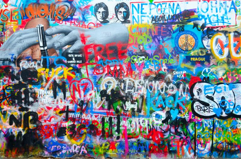 Fragment of famous John Lennon Wall near Kampa Island in Prague, Czech Republic royalty free stock image
