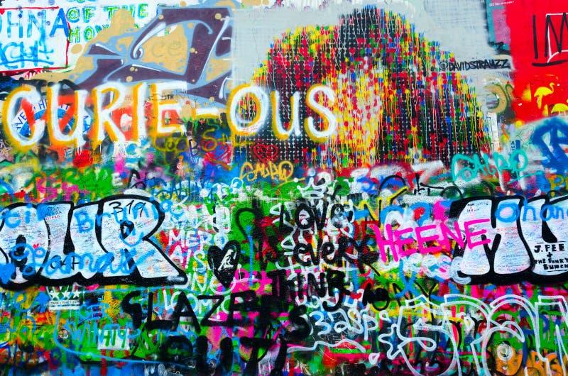 Fragment of famous John Lennon Wall in Prague, Czech Republic stock photography