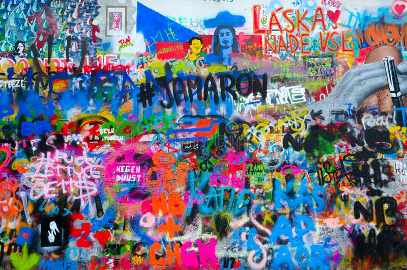 Fragment of famous John Lennon Wall in Prague, Czech Republic royalty free stock images