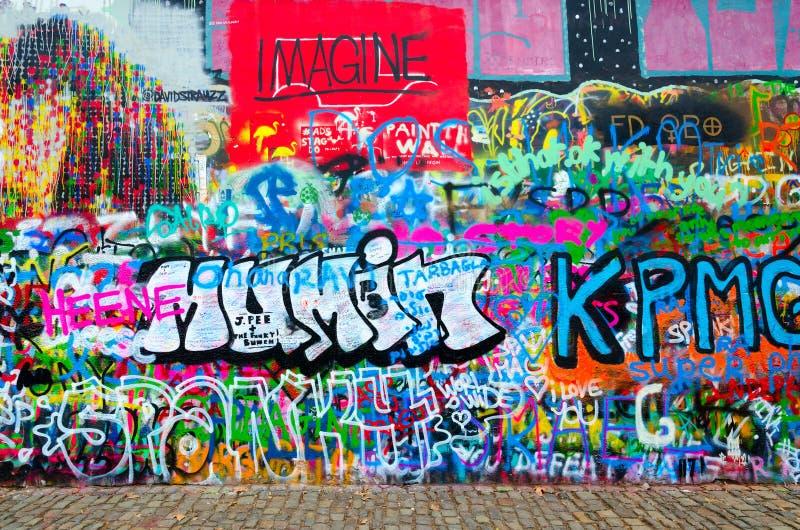 Fragment of famous John Lennon Wall in Prague, Czech Republic stock images