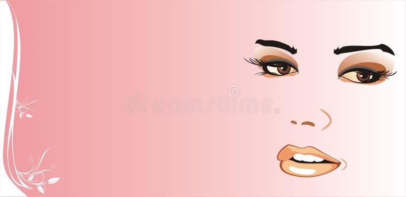 Fragment of female face. Background for card. Vector illustration
