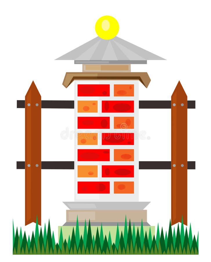 Download Fragment Of A Fence From Bricks Stock Illustration - Illustration of stones, rough: 22873142