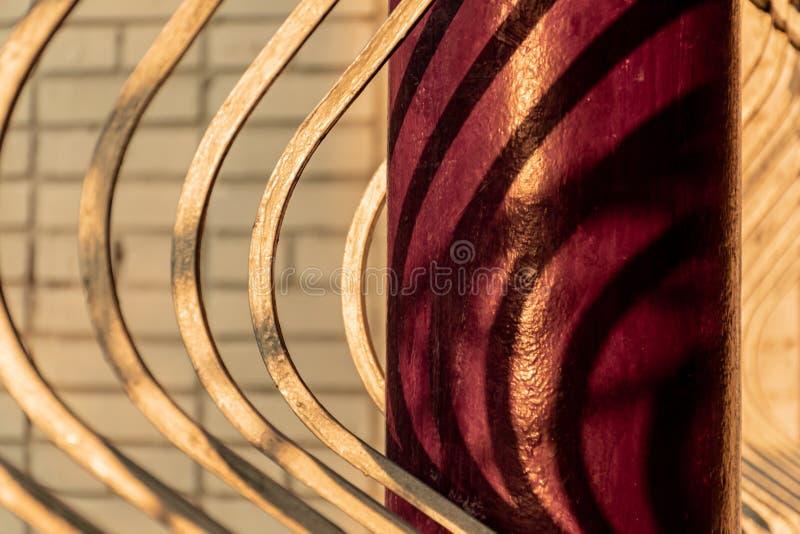 Fragment of the fence with metal columns. Veranda restaurant stock photos