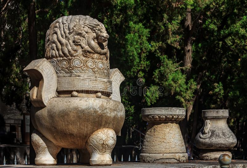 Fragment of the Five Stone Sacrificial Vessels at the altar in t royalty free stock photos