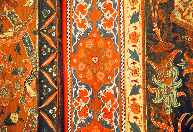 Fragment of floral patterned wall of 17th century Aleppo room stock photography