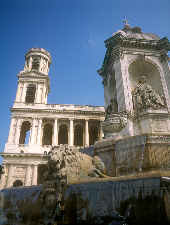 Fragment Of The Fontaine Saint Sulpice. Stock Photography