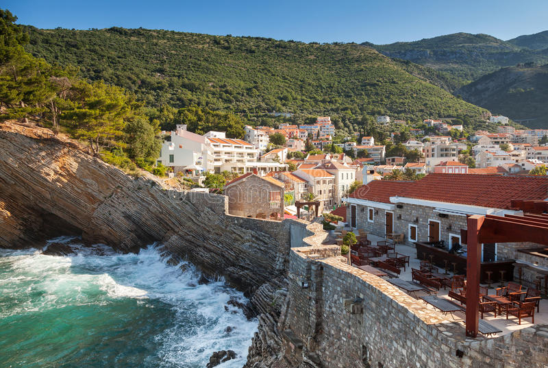 Fragment of fortress in Petrovac, Montenegro. Fragment of coastal fortress in Petrovac, Montenegro stock photos