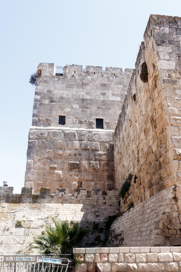 Fragment of the fortress walls near to Jaffa Gate in the old city of Jerusalem, Israel. stock photography