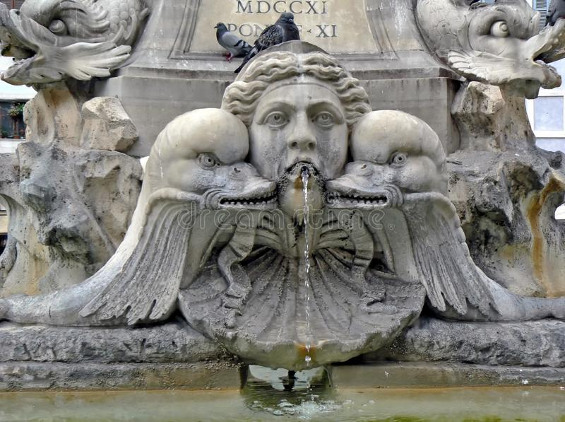 Fragment of fountain Di Trevi in Roma royalty free stock photography