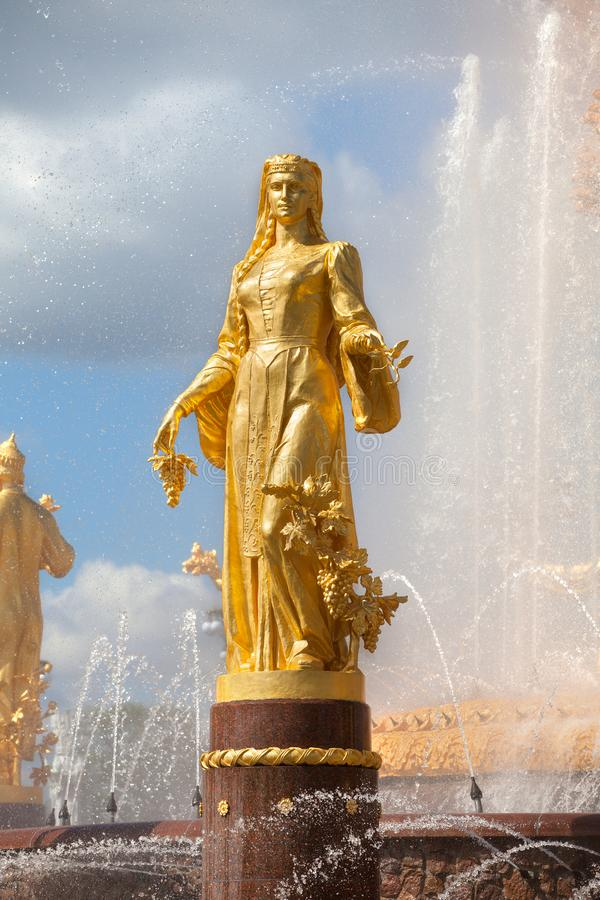 Fountain Friendship of Nations of the USSR or Friendship of Peoples of the USSR, Exhibition of Achievements of National Economy. Fragment of Fountain Friendship royalty free stock photos