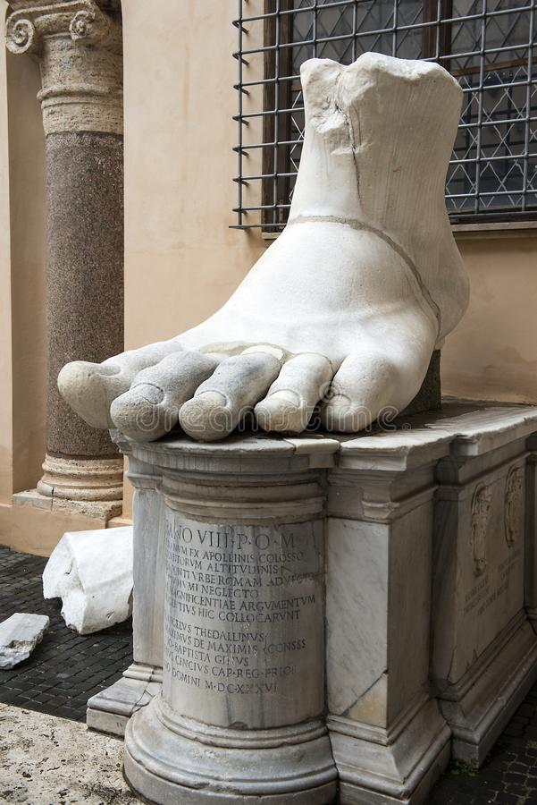 Fragment of giant sculpture Colossus of Constantine in Rome stock image