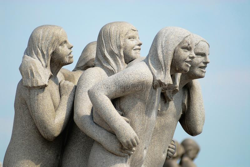 Fragment of the granite sculpture made by the famous artist Gustav Vigeland in open air Frogner park in Oslo, Norway. stock image