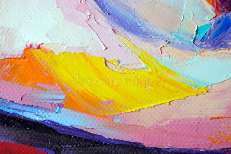 fragment Het Multicolored textuur schilderen Abstracte kunstachtergrond Olie op canvas Ruwe penseelstreken van verf Close-up van  royalty-vrije stock fotografie