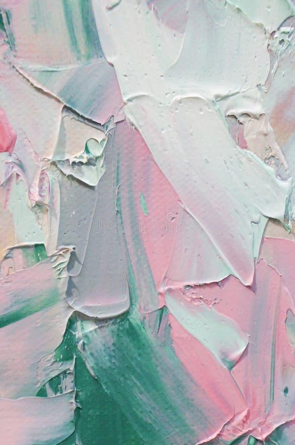 fragment Het Multicolored textuur schilderen Abstracte kunstachtergrond Olie op canvas Ruwe penseelstreken van verf Close-up van  stock foto