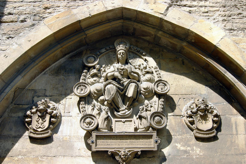 Fragment of historic architecture of Muenster. The sculptural decoration of the facade in the historic center of the German city of Muenster royalty free stock photo