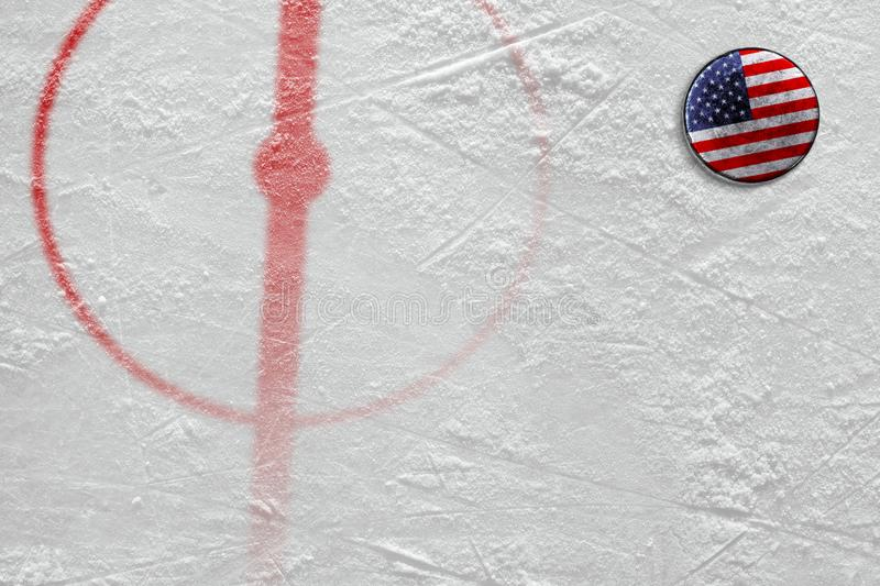 Fragment of the hockey arena with markings and the American wash. Fragment of the hockey arena with a central circle and an American washer. Concept, hockey stock photo