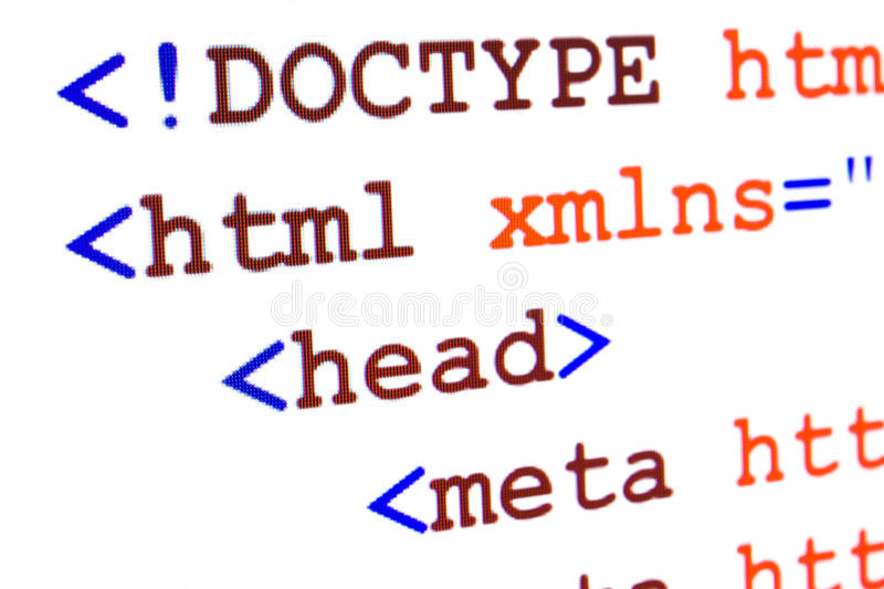 Download Fragment Of HTML Source Code Of Web Page With Title Royalty Free Stock Photo - Image: 28492995