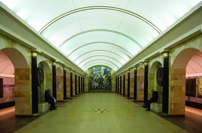 Fragment of the interior of the Admiralteiskaya metro station royalty free stock photo