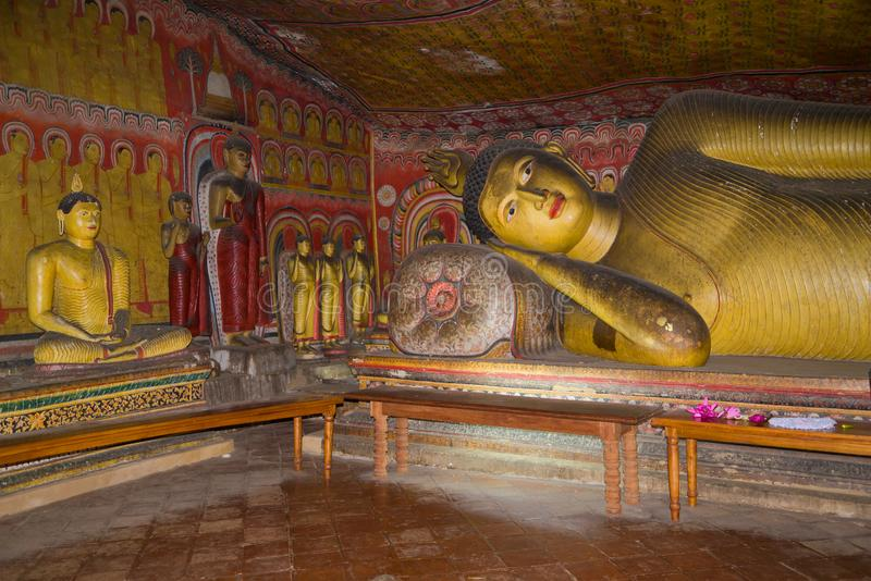 Fragment of an interior of the ancient cave Buddhist temple. Dambulla, Sri Lanka stock photo