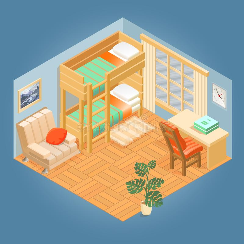 Fragment of interior with isometric furniture set. Vector. vector illustration