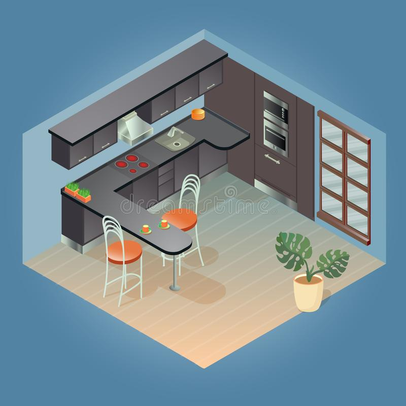 Fragment of the interior with detailed isometric furniture set. royalty free illustration