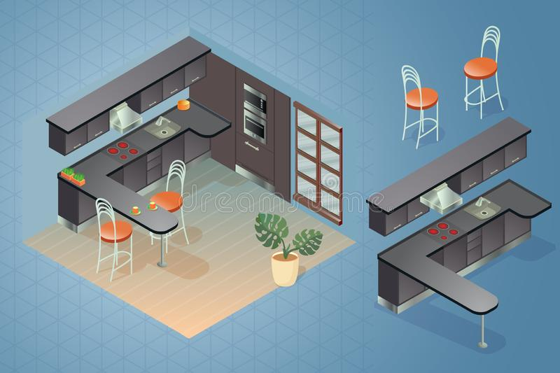 Fragment of the interior with detailed isometric furniture set. stock illustration