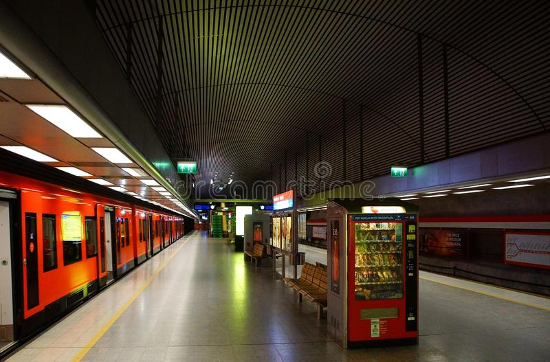 Fragment of the interior of the Hakaniemi metro station. In Helsinki royalty free stock photo