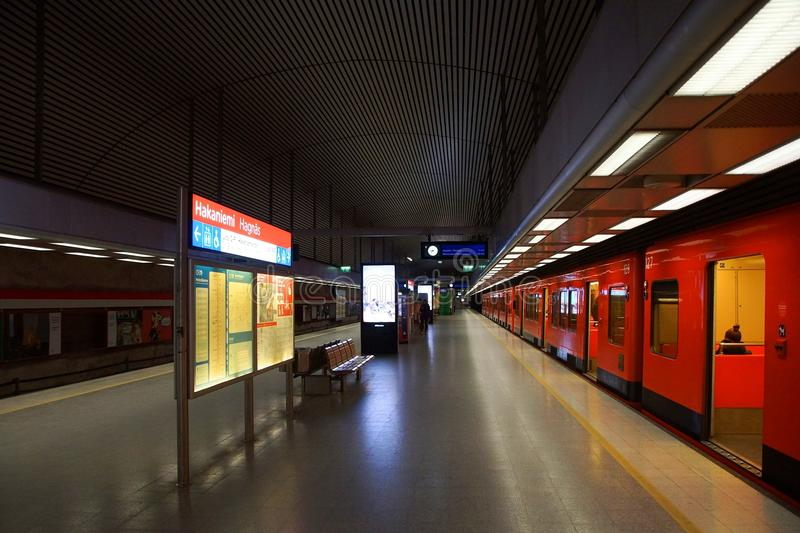 Fragment of the interior of the Hakaniemi metro station. In Helsinki royalty free stock images