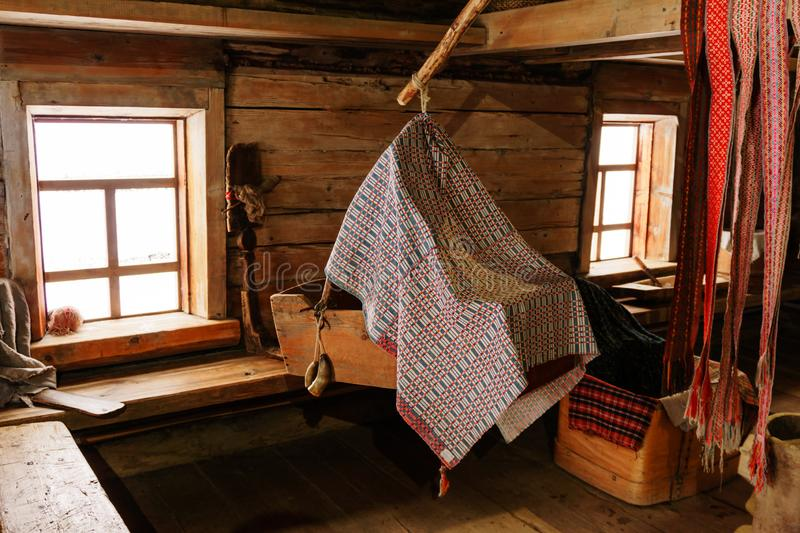 Fragment of the interior of an old peasant hut royalty free stock photos