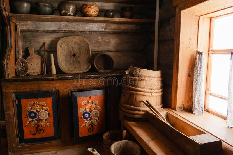 Fragment of the interior of an old peasant hut stock photos