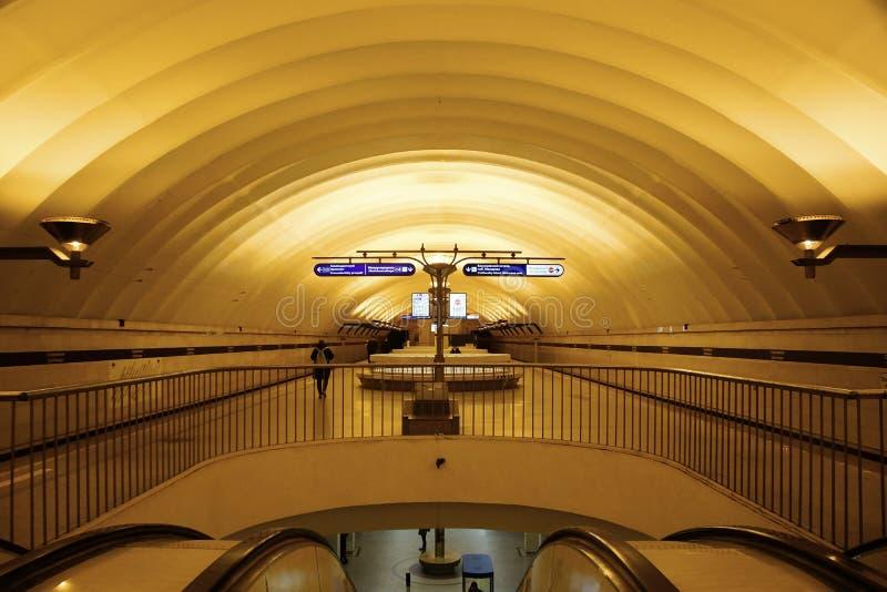 Fragment of the interior of the Sportivnaya metro station royalty free stock photos