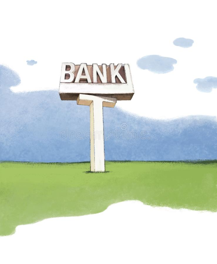 Fragment of the landscape, a green field under a blue sky with a picture of a concrete pillar with the inscription BANK. Raster royalty free illustration