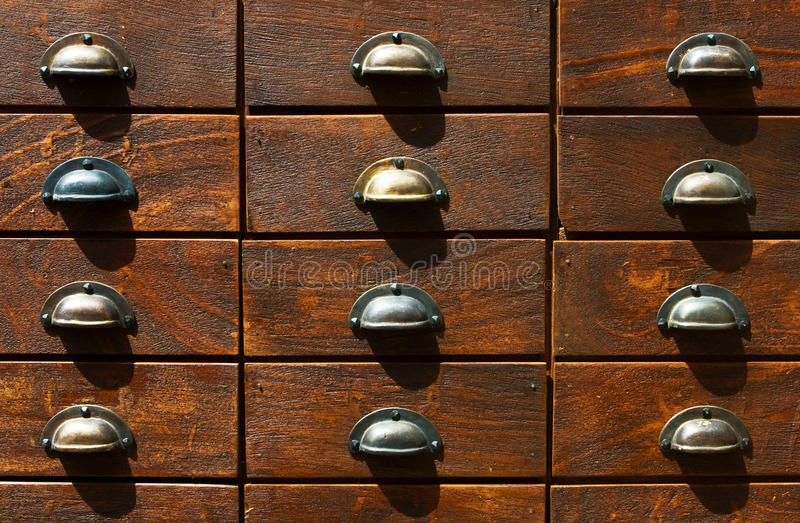Download Fragment Of Locker With Wooden Catalogue Boxes Ret Stock Image - Image: 14590359