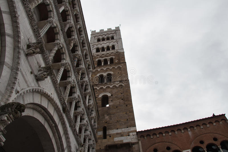 Fragment of Lucca Cathedral. Cattedrale di San Martino. Tuscany. Italy. stock image