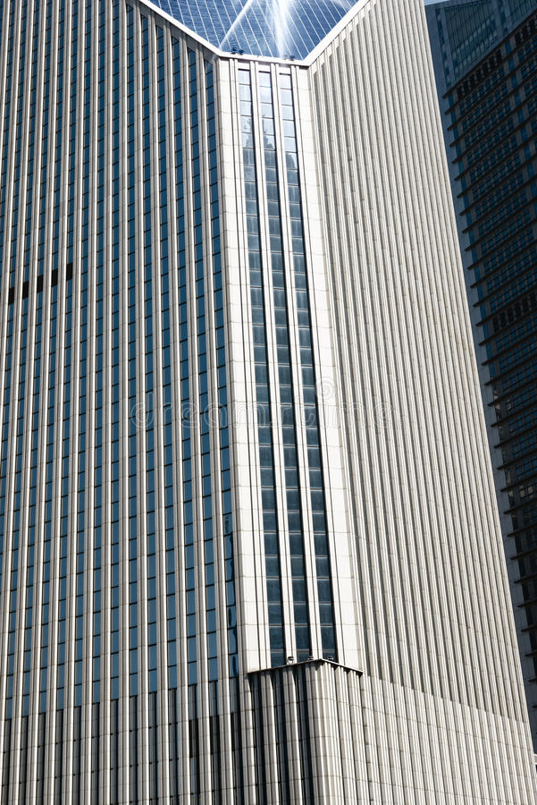 Fragment of a modern building in downtown Shanghai stock photos