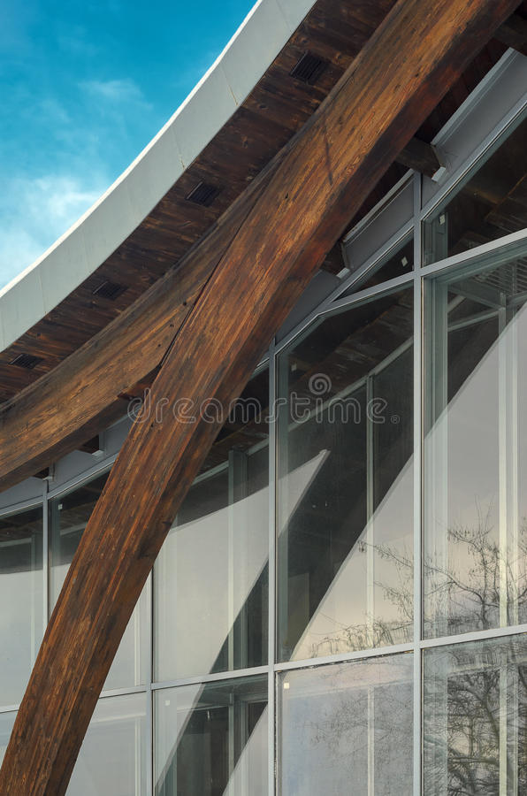 Fragment of modern building with structural glass wall. MINSK, BELARUS - January 15, 2017: Sports complex Olympic reserve. Pool National Olympic Training Center royalty free stock images
