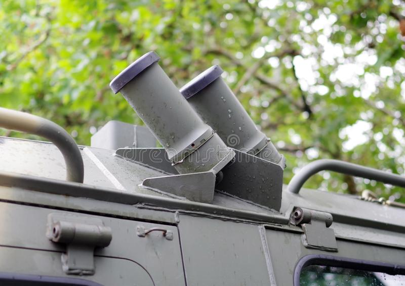 Fragment of a modern military patrol vehicle stock images